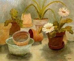 clay pots, gerber daisy, oil painting